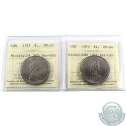 Nickel $1 1974 Rev-016 MS-64 & 1974 Rev-008 MS-63 ICCS Certified. 2pcs