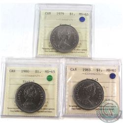Nickel $1 1979, 1980, 1983 All ICCS Certified MS-65  3pcs.