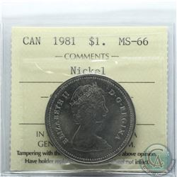 Nickel $1 1981 ICCS Certified MS-66. Only 1 of 8 known
