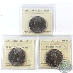 Nickel $1 1981, 1982 Constitution & 1984 J. Cartier ICCS Certified MS-65. 3pcs