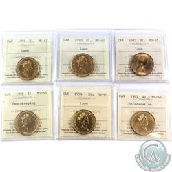 Loon $1 1987, 1990, 1991, 1992 Confederation, 1994 & 1995 Peacekeeping ICCS Certified MS-65. 6pcs