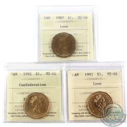 Loon $1 1987, 1992 Confederation & 1993 ICCS Certified MS-66. 3pcs