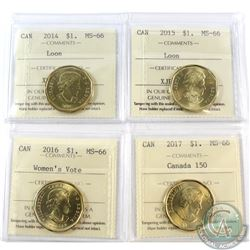 Loon $1 2014, 2015, 2016 Women's Vote & 2017 Canada 150 ICCS Certified MS-66. 4pcs
