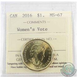 Loon $1 2016 Women's Vote ICCS Certified MS-67