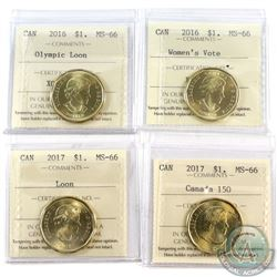 Loon $1 2016 Olympic Loon, 2016 Women's Vote, 2017 & 2017 Canada 150 ICCS Certified MS-66. 4pcs