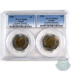 $2 1996 German Planchet MS-66 & Canadian Planchet MS-65. Both coins have been graded by PCGS, and co