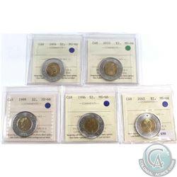 $2 1996, 1999 PB, 2002, 2004, 2010. All ICCS Certified MS-66. 5pcs.