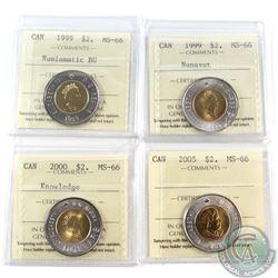 $2 1999 Numismatic BU, 1999 Nunavut, 2000 Knowledge & 2005 ICCS Certified MS-66. 4pcs