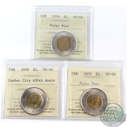 $2 2006, 2008 & 2008 Quebec City ICCS Certified MS-66. 3pcs