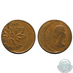 Canada 1-cent 1957 Struck Off Center 20% with Flat Rim Extra Fine