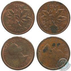 2x Canada 1-cent 1964 Rotated Die - 315 Degrees AU-UNC & 115 Degrees AU (Spots). 2pcs