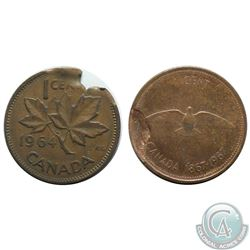 Canada 1-cent 1964 & 1967 with Defective Planchet in VF & AU-UNC. Please view picture. 2pcs