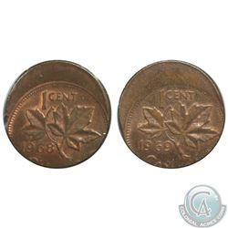 Canada 1-cent 1968 & 1969 Both Struck Off Center 25% in AU-UNC. 2pcs