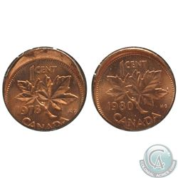 Canada 1-cent 1978 & 1980 Struck Off Center 10% with Raised Rims  B.U. 2pcs