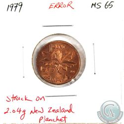 Canada 1-cent 1979 Struck on a 2.04g New Zealand Planchet. Choice BU RED