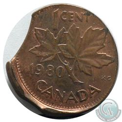Canada 1-cent 1980 Struck Off Center with Multiple Clips on Planchet A.U.