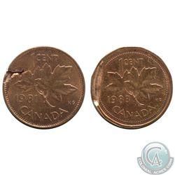 Canada 1-cent 1981 & 1983 with Defective Planchet in AU-UNC & UNC+. Please view picture. 2pcs