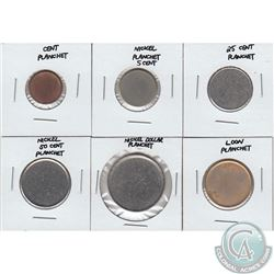 Lot of Canada 1-cent, 5-cent, 25-cent, 50-cent, Nickel $1 & Loon $1 Blank Planchets. 6pcs