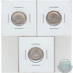 Lot of 3x Canada 10-cent Struck off Center 1961, 1963 & 1964. 3pcs