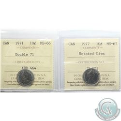 1971 Canada 10-cent Double 71 ICCS Certified MS-66 & 1977 10-cent Rotated Dies ICCS MS-65. 2pcs