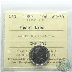 Canada 10-cent 1989 Upset Dies 180 Degrees ICCS Certified AU-50