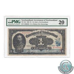 NF-12b 1920 Gov't of NFLD $1, Hickey-Brownrigg, S/N: A386846, PMG VF-20. A nice clear signature, rar