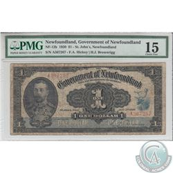 NF-12b 1920 Government of Newfoundland $1 - St.John's, S/N: A367267. PMG Choice F-15.