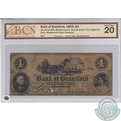 40-10-04-06b 1859 Bank of Brantford $4, Stokes-Carroll, Overall Green Tint, Engraved Date, Westbrook