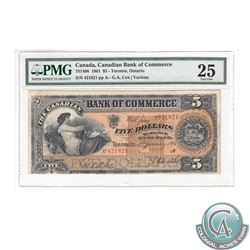 75-14-06 1901 Canadian Bank of Commerce $5, Cox-Various, S/N: 421821/A, PMG VF-25. A respectable pro