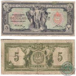 75-16-04-02 1917 Canadian Bank of Commerce $5. S/N: 442042/C. Note is VG-F with some margin Tears.