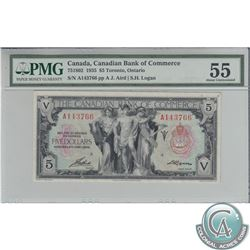 75-18-02 1935 Canadian Bank of Commerce $5, Aird-Logan, S/N: A143766/A, PMG AU-55.