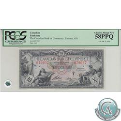 75-18-06 1935 Canadian Bank of Commerce $10, Aird-Logan, S/N: 079037/A, PCGS AU-58, PPQ.