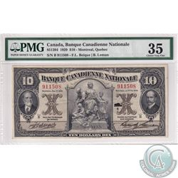 85-12-04 1929 Banque Canadienne Nationale $10, Montreal Quebec, Beique-Leman, S/N: 911508/B. PMG Cer