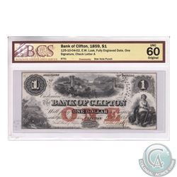 125-10-04-02 1859 Bank of Clifton $1. E.W. Lusk, Fully Engraved Date, One Signature. S/N: 8751/A. BC
