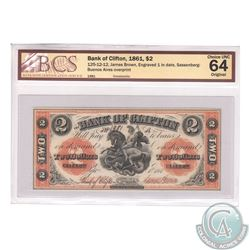 125-12-12 1861 Bank of Clifton $2. James Brown, Engraved 1 in Date, Sassenberg-Bueno Aires Overprint