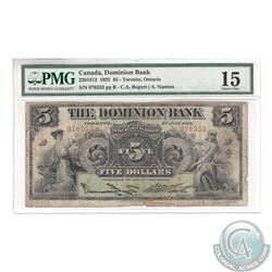 220-15-12 1925 The Dominion Bank $5, Bogart-Nanton. S/N: 078353/B. PMG VF-15. A Rare Signature Type