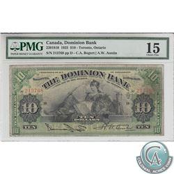 220-18-10 1925 Dominion Bank $10, Bogert-Austin, S/N: 213768/D, PMG F-15