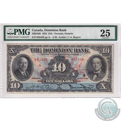 220-24-06 1931 Dominion Bank $10, Toronto Ontario, Austin-Bogert, S/N: 093420/A. PMG Certified VF-25