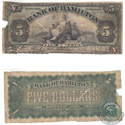 345-20-02 1909 Bank of Hamilton $5, S/N: 001858. Note is VG condition with some damage.
