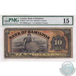 345-20-10 1914 Bank of Hamilton $10. Hendrie-Various, S/N: 488634. PMG Choice F-15. (Missing corner)
