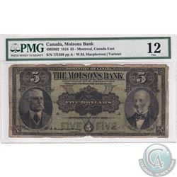 490-38-02 1918 The Molson's Bank $5, Macpherson-Various, S/N: 171388. PMG F-12.