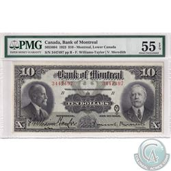 505-56-04 1923 Bank of Montreal $10, Williams-Taylor-Meredith. S/N: 3447497. PMG AU-55 EPQ  Well Cen