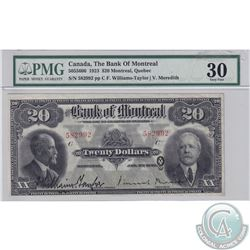 505-56-06 1923 Bank of Montreal $20. Williams-Taylor-Meredith, S/N: 582992/C. PMG VF-30. Nice bright