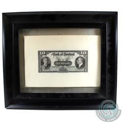 505-62-02P 1938 The Bank of Montreal $10 Face Proof Note Mounted on Cardboard in Nice Black Frame.