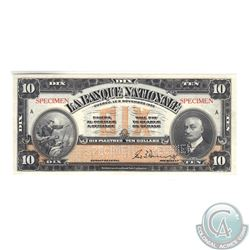 510-22-04S 1922 La Banque National Specimen $10. Banknote is UNC or better and comes with a History