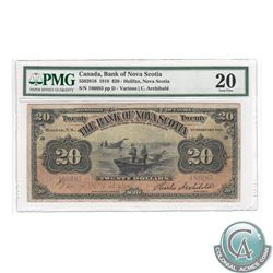 550-28-16 1918 Bank of Nova Scotia $20, Various-Archibald, S/N: 186685/D, PMG VF-20. Well centered w