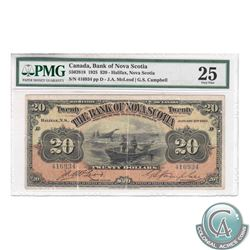 550-28-18 1925 Bank of Nova Scotia $20, McLeod-Campbell, S/N: 416934/D, PMG VF-25. Comments of Small
