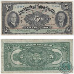 550-34-02 1929 The Bank of Nova Scotia $5, Moore-McLeod, S/N: 775009. Note is in VF Condition.
