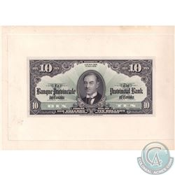 615-18-06P 1936 The Provincial Bank of Canada $10 Face Proof Note Mounted on Cardboard Sheet. Please