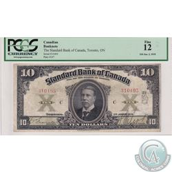 695-18-22 1919 Standard Bank of Canada $10, Francis-McLeod, S/N: 310495/C, PCGS F-12.  The top edge